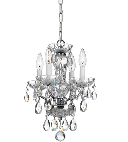 Crystorama 5534-CH-CL-I Traditional Crystal 4 Light 11 inch Chrome Mini Chandelier Ceiling Light photo