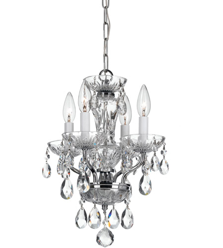 Crystorama 5534-CH-CL-SAQ Traditional Crystal 4 Light 11 inch Chrome Chandelier Ceiling Light in Swarovski Spectra (SAQ), Chrome (CH) photo