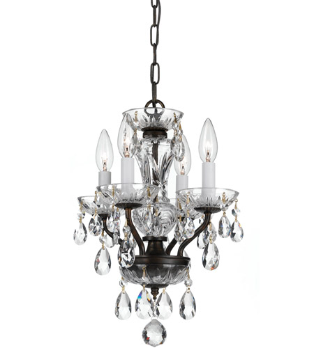 Crystorama 5534-EB-CL-MWP Traditional Crystal 4 Light 11 inch English Bronze Mini Chandelier Ceiling Light in English Bronze (EB), Clear Hand Cut photo