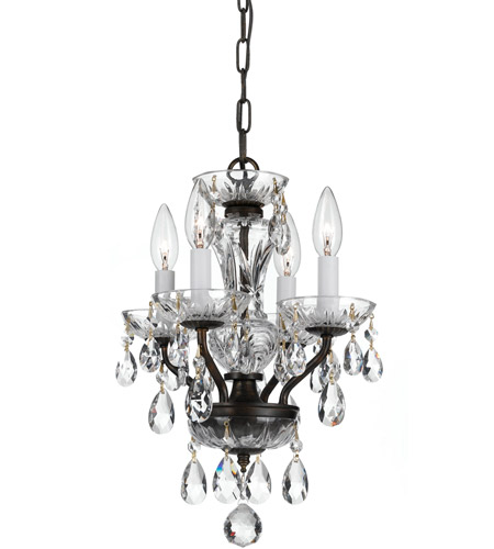 Crystorama 5534-EB-CL-SAQ Traditional Crystal 4 Light 11 inch English Bronze Chandelier Ceiling Light in Swarovski Spectra (SAQ), English Bronze (EB) photo