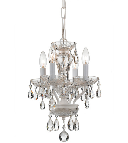 Crystorama 5534-WW-CL-MWP Traditional Crystal 4 Light 11 inch Wet White Mini Chandelier Ceiling Light in Wet White (WW), Clear Hand Cut photo
