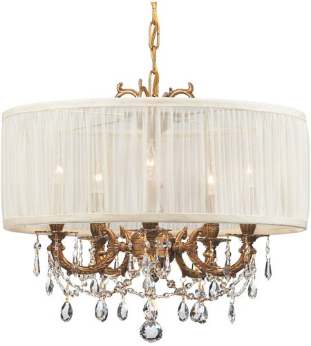 Crystorama 5535-AG-SAW-CLM Gramercy 5 Light 20 inch Aged Brass Mini Chandelier Ceiling Light in Aged Brass (AG), Pleated Antique White (SAW), Clear Hand Cut photo