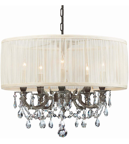 Crystorama 5535-PW-SAW-CLM Gramercy 5 Light 20 inch Pewter Mini Chandelier Ceiling Light in Pewter (PW), Pleated Antique White (SAW), Clear Hand Cut photo
