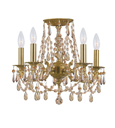 Crystorama Mirabella 5 Light Flush Mount in Aged Brass with Hand Cut Crystals 5545-AG-GT-MWP_FLUSH photo