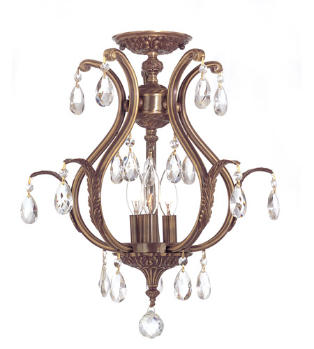 Crystorama 5560-AB-CL-MWP_CEILING Dawson 3 Light 16 inch Antique Brass Semi Flush Mount Ceiling Light in Antique Brass (AB), Clear Hand Cut photo
