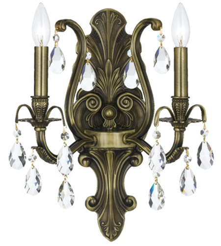 Crystorama 5563-AB-CL-MWP Dawson 2 Light 13 inch Antique Brass Wall Sconce Wall Light in Antique Brass (AB), Clear Hand Cut photo