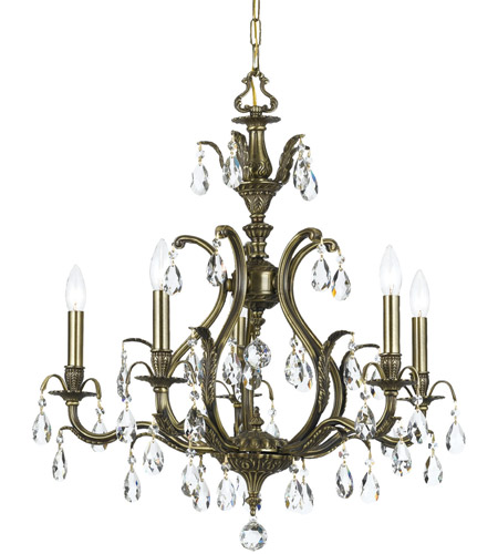 Crystorama 5565-AB-CL-SAQ Dawson 5 Light 27 inch Antique Brass Chandelier Ceiling Light in Clear Crystal (CL), Swarovski Spectra (SAQ), Antique Brass (AB) photo