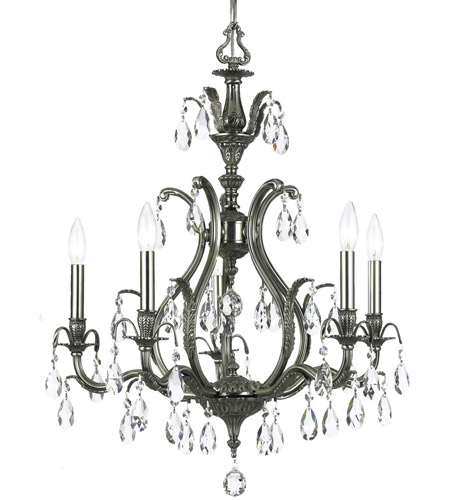 Crystorama 5565-PW-CL-MWP Dawson 5 Light 27 inch Pewter Chandelier Ceiling Light photo