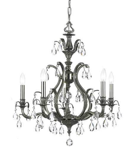Crystorama Dawson 5 Light Chandelier in Pewter 5565-PW-CL-S photo
