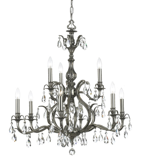 Crystorama Dawson 9 Light Chandelier in Pewter 5569-PW-CL-MWP photo