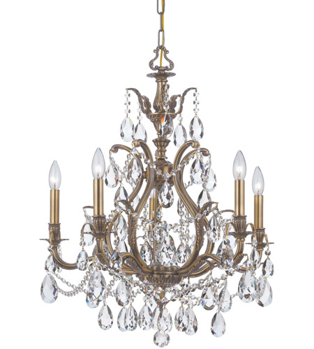 Crystorama Dawson 5 Light Chandelier in Antique Brass, Hand Cut 5575-AB-CL-MWP photo