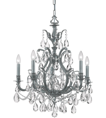 Crystorama 5575-PW-CL-SAQ Dawson 5 Light 27 inch Pewter Chandelier Ceiling Light in Swarovski Spectra (SAQ), Pewter (PW) photo