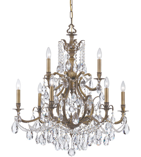 Crystorama 5579-AB-CL-MWP Dawson 9 Light 30 inch Antique Brass Chandelier Ceiling Light in Hand Cut, Antique Brass (AB) photo