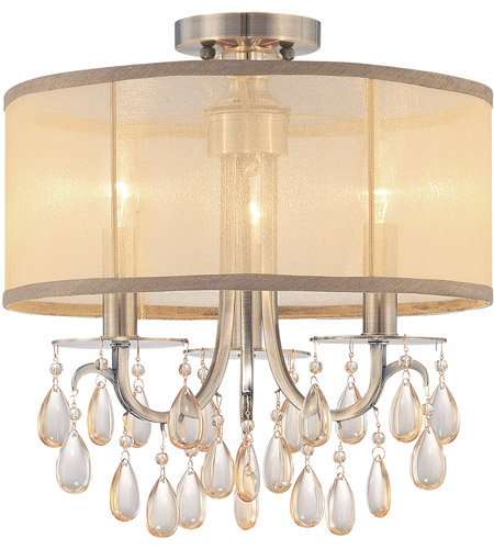 Crystorama 5623-AB_CEILING Hampton 3 Light 14 inch Antique Brass Flush Mount Ceiling Light in Antique Brass (AB), Etruscan Smooth Teardrop Almond photo