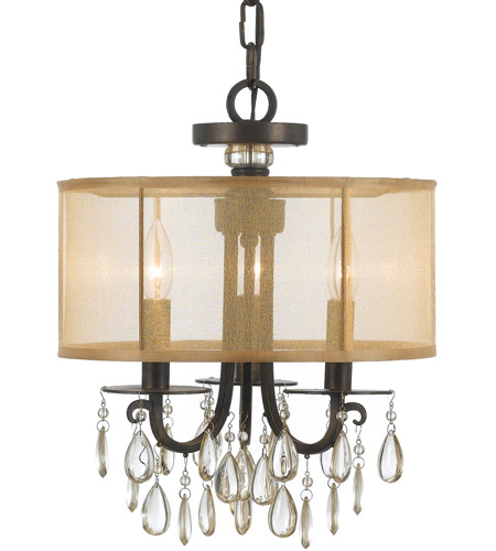 Crystorama 5623-EB Hampton 3 Light 14 inch English Bronze Mini Chandelier Ceiling Light in English Bronze (EB), Etruscan Smooth Teardrop Almond photo