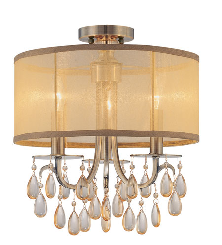 Crystorama Hampton Collection 3 Light Semi Flush Mount in Antique Brass 5623-AB_FLUSH photo