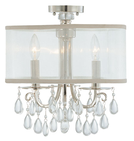 Crystorama Hampton Collection 3 Light Semi Flush Mount in Polished Chrome 5623-CH_FLUSH photo