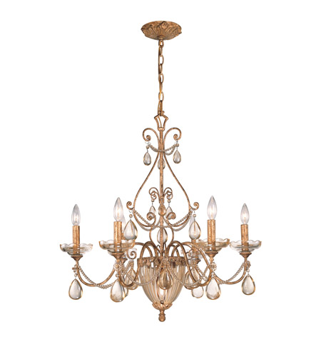 Crystorama Lighting Tuscany 7 Light Chandelier in Etruscan Gold & Etruscan Smooth Oysters 5636-EG photo