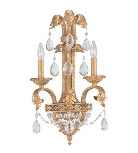 Crystorama Lighting Venetian 2 Light Wall Sconce in Etruscan Gold & Optical 5692-EG photo