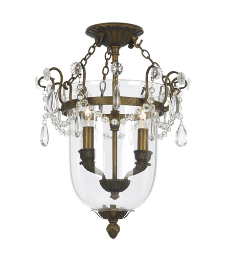 Crystorama 5711-AB New Town 2 Light 13 inch Antique Brass Semi-Flush Mount Ceiling Light in Antique Brass (AB) photo