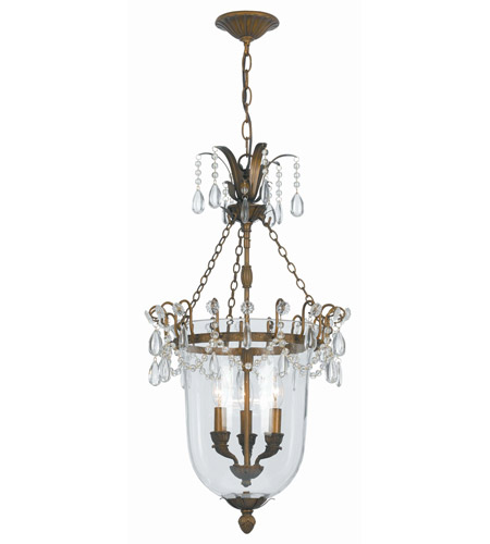 Crystorama New Town 3 Light Pendant in Antique Brass 5713-AB photo