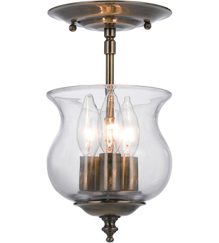 Crystorama 5715-AB Ascott 3 Light 7 inch Antique Brass Semi Flush Mount Ceiling Light in Antique Brass (AB) photo