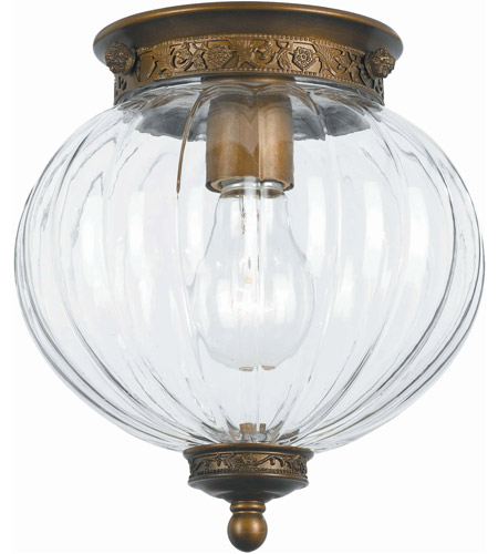 Crystorama 5780-AB Signature 1 Light 8 inch Antique Brass Flush Mount Ceiling Light photo