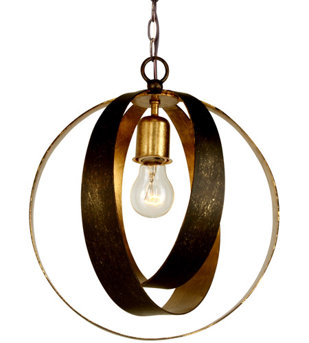 Crystorama 580-EB-GA Luna 1 Light 12 inch English Bronze and Antique Gold Mini Chandelier Ceiling Light photo