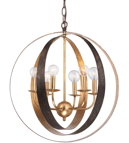 Crystorama 585-EB-GA Luna 6 Light 21 inch English Bronze and Antique Gold Chandelier Ceiling Light in English Bronze and Antique Gold (EB-GA) photo