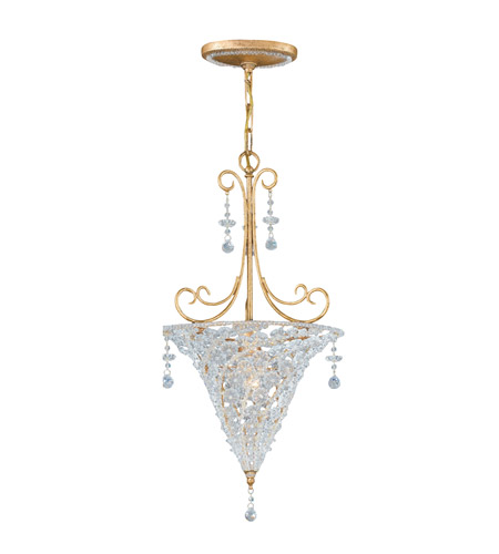 Crystorama Lighting Signature 1 Light Pendant in Burnished Gold & Clear Beads 5902-BG-CLEAR photo