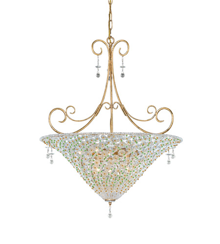 Crystorama Lighting Signature 7 Light Pendant in Burnished Gold & Peridot 5905-BG-PERIDOT photo