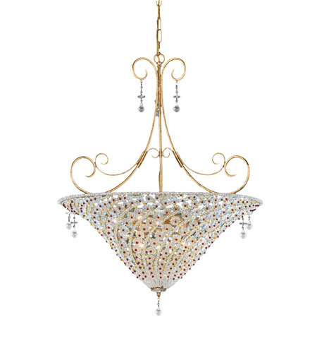 Crystorama Signature 7 Light Chandelier in Burnished Gold 5905-BG-RUBY photo