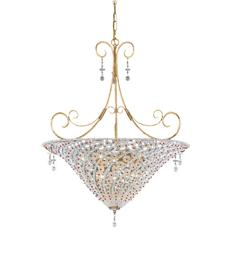 Crystorama Lighting Signature 7 Light Pendant in Burnished Gold & Violet 5905-BG-VIOLET photo