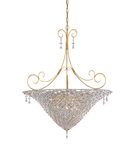 Crystorama Signature 10 Light Pendant in Burnished Gold with Hand Cut Crystals 5907-BG-VIOLET