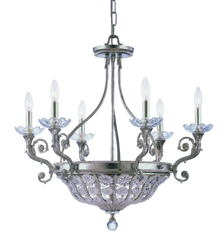 Crystorama Kingston 6 Light Chandelier in Silver Leaf 5926-OS photo