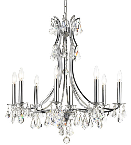 Crystorama 5938-CH-CL-MWP Cedar 8 Light 27 inch Polished Chrome Chandelier Ceiling Light in Polished Chrome (CH), Clear Hand Cut photo