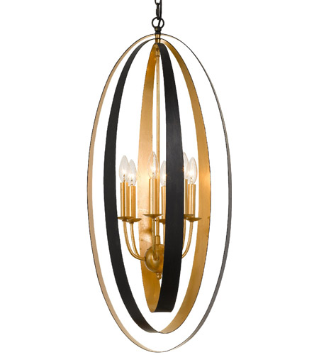 Crystorama 597-EB-GA Luna 6 Light 16 inch English Bronze and Antique Gold Pendant Ceiling Light photo