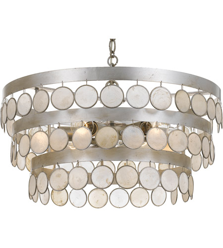 Crystorama 6006-SA Coco 6 Light 22 inch Antique Silver Chandelier Ceiling Light photo