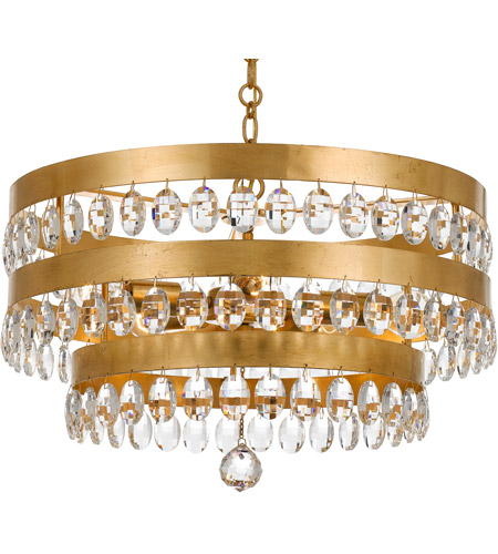 Crystorama 6106-GA Perla 5 Light 22 inch Antique Gold Chandelier Ceiling  Light in Antique Gold (GA), Clear Hand Cut, 21.75-in Width - Crystorama 6106-GA Perla 5 Light 22 Inch Antique Gold Chandelier