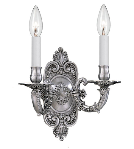 Crystorama 642-PW Signature 2 Light 10 inch Pewter Wall Sconce Wall Light in Pewter (PW) photo