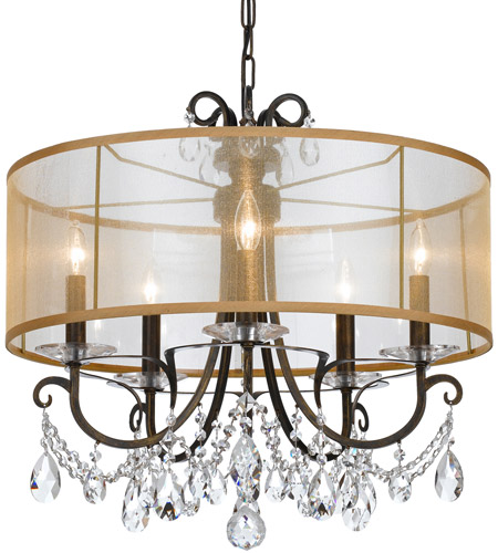 Crystorama 6625-EB-CL-MWP Othello 5 Light 24 inch English Bronze Chandelier Ceiling Light in English Bronze (EB), Clear Hand Cut, Silk photo