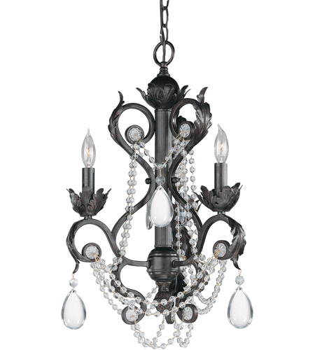 Crystorama Winslow 3 Light Mini Chandelier in Dark Rust 6703-DR photo