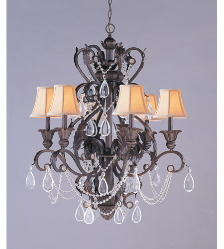 Crystorama Winslow 6 Light Chandelier in Dark Rust 6706-DR photo