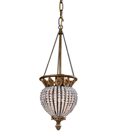 Crystorama Roosevelt 1 Light Pendant in Weathered Patina 6725-WP