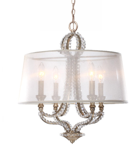 Crystorama 6764-DT Garland 4 Light 16 inch Distressed Twilight Mini Chandelier Ceiling Light photo