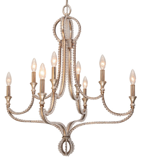 Crystorama Garland 8 Light Chandelier in Distressed Twilight, Hand Cut 6768-DT photo