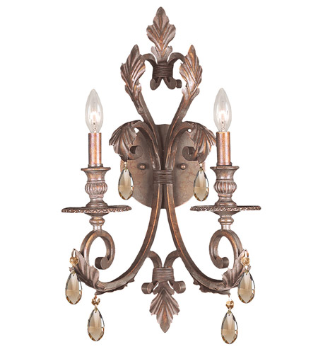 Crystorama 6902-FB-GTS Royal 2 Light 13 inch Florentine Bronze Wall Sconce Wall Light in Golden Teak (GT), Swarovski Elements (S), Florentine Bronze (FB) photo