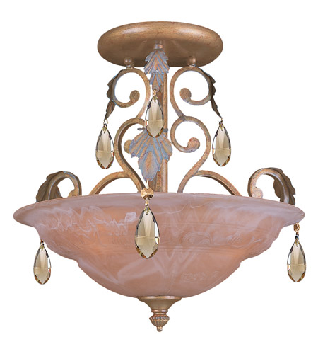 Crystorama Royal 3 Light Semi-Flush Mount in Florentine Bronze 6903-FB-GTS photo