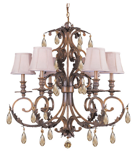 Crystorama Royal 6 Light Chandelier in Florentine Bronze 6906-FB-GT-MWP photo