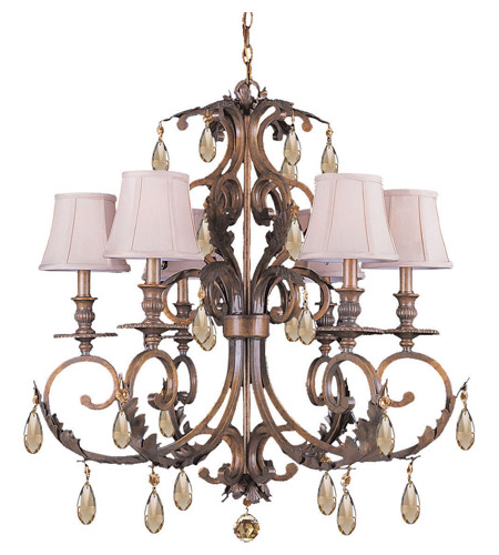 Crystorama Royal 6 Light Chandelier in Florentine Bronze 6906-FB-GTS photo